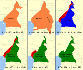 Cameroon from 1901–1972 .mw-parser-output .legend{page-break-inside:avoid;break-inside:avoid-column}.mw-parser-output .legend-color{display:inline-block;min-width:1.25em;height:1.25em;line-height:1.25;margin:1px 0;text-align:center;border:1px solid black;background-color:transparent;color:black}.mw-parser-output .legend-text{}  German Kamerun   British Cameroons   French Cameroun   Republic of Cameroon