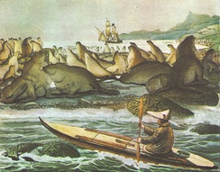 Illustration of an Aleut paddling a baidarka, with an anchored Russian ship in the background, near Saint Paul Island, by Louis Choris, 1817