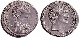 Cleopatra and Mark Antony on the obverse and reverse, respectively, of a silver tetradrachm struck at the Antioch mint in 36 BC