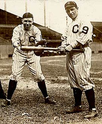 Players of the Cleveland Indians wearing uniforms with numbers on their left sleeves in 1916. The Indians were the first team to introduce numbered uniforms in the MLB