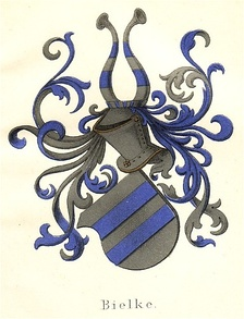 Canting coat of arms of the Bielke family (Bielke being an old spelling for bjælke, the Danish word for fess.)