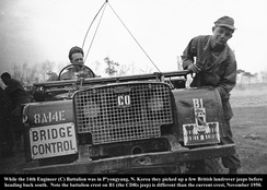 British Land Rover near Pyongyang, November 1950, during the Korean War