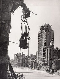 Ruins of Warsaw's Napoleon Square in the aftermath of World War II
