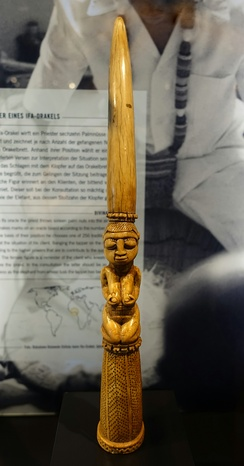 An Iroke or Irofa (Ìròkè Ifá) is the divination tapper of the Yoruba. It is long, slender and often slightly curved. Used in combination with the Opon Ifa or divination board. Traditionally made from ivory, but also brass and wood.[60]