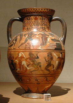 Diomedes and Polyxena, Pontic amphora by the Silenus Painter, c. 540/530 BC, found in Vulci, now in the Louvre, Paris