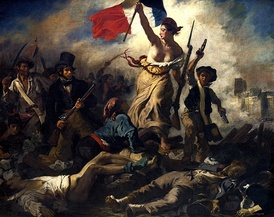 "Eugène Delacroix's Liberty Leading the People (1830) portrays the July Revolution using the stylistic views of Romanticism. Since Liberty is part of the motto ""Liberté, égalité, fraternité"", as the French put it, this painting has become the primary symbol of the French Republic."