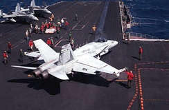 A Marine F/A-18 from VMFA-451 preparing to launch from USS Coral Sea (CV-43)