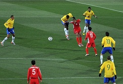 North Korea (in red) against Brazil at the 2010 FIFA World Cup