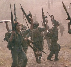 Contra Commandos from FDN and ARDE Frente Sur, Nueva Guinea area in 1987
