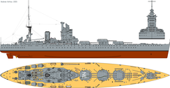 Profile drawing of HMS Nelson commissioned 1927