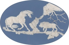 Horse Frightened by a Lion Jasperware by Wedgwood and Thomas Bentley, after George Stubbs, 1780.