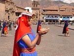Inti Raymi, a winter solstice festival of the Inca people, reveres Inti – the sun deity. Offerings include round bread and maize beer.[146] Right: Deity Viracocha.
