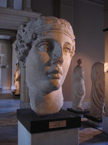 Head of the poetess Sappho, Smyrna, Marble copy of a prototype belonging to the Hellenistic Period, in Istanbul Archaeology Museums