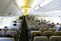 Economy class with two aisles and seven seats per row in 2–3–2 layout