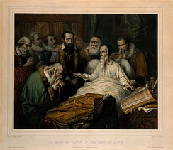 John Calvin on his deathbed with church members