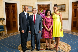 Cape Verdean President Jorge Carlos Fonseca and Ligia Fonseca meet with the US President Barack Obama and Michelle Obama in 2014.