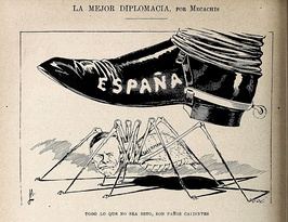 Caricature published in Blanco y Negro (March 21, 1896) depicting Sherman, Chair of the Senate Foreign Relations Committee, as an insect crushed by Spain.