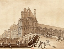 The Pavillon de Flore, the seat of the Committee of Public Safety and General Police Bureau. Also, Joachim Vilate lived there in an apartment. Drawing in brown ink (1814)