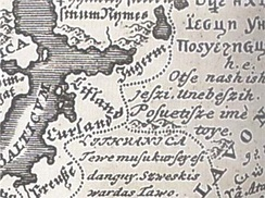 A map of European languages (1741) with the first verse of the Lord's Prayer in Lithuanian