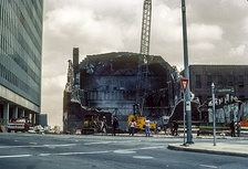 The wreckage of the Loew's Grand being demolished after the fire in 1978