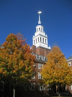 Lowell House bell tower in autumn.