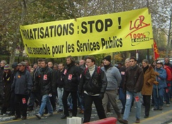 LCR protesters marching in a workforce demonstration in favour of public services and against privatization
