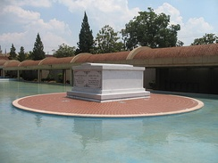The sarcophagus of Martin Luther King and Coretta Scott King  at the Martin Luther King Jr. National Historic Site in Atlanta, Georgia.