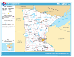 Minnesota, showing roads and major bodies of water