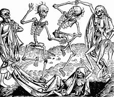 Between 1347 and 1351 the Black Death ravaged Europe and Germany (scene from the Dance of Death by Michael Wolgemut).