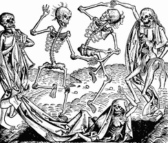 Michael Wolgemut, The Dance of Death (1493) from the Liber chronicarum by Hartmann Schedel, evoked musically in Saint-Saëns' Danse macabre.