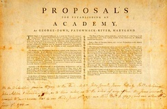 The proposal for a school at Georgetown was conceived in 1787, after the American Revolution allowed for the free practice of religion.