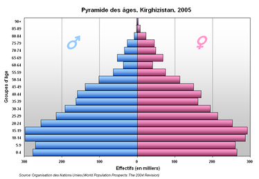 A population pyramid showing Kyrgyzstan's age distribution (2005).