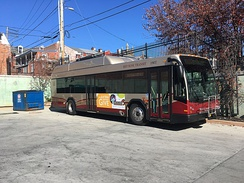 RRTA bus at Queen Street Station in downtown Lancaster