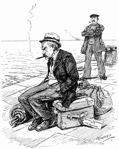 "The Labour leader Ramsay MacDonald, depicted in a hostile Punch cartoon. The luggage label, marked ""Petrograd"", links him to Russia and communism."