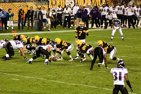 The eventual NFL champion Steelers (in throwbacks) in week 4 against Baltimore, the eventual AFC runner-up