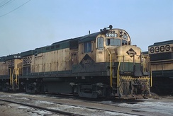 Reading ALCO C424 5202 at Rutherford Yard in Harrisburg, Pennsylvania in 1970