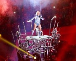 Lady Gaga, after descending from the roof in a harness at the Super Bowl LI halftime show