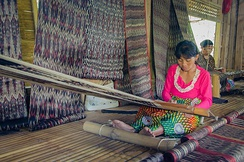 T'boli dream weavers using two-bar bamboo backstrap looms (legogong) to weave t'nalak cloth from abacá fiber. One bar is attached to the ceiling of the traditional T'boli longhouse, while the other is attached to the lower back.[4][5]