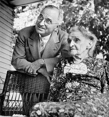 Truman visits his mother in Grandview, Missouri, after being nominated the Democratic candidate for vice president, July 1944
