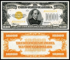 Chase depicted on the 1934 $10,000 gold certificate
