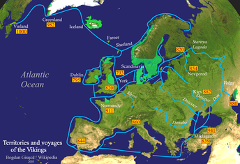 Viking expeditions (blue line): depicting the immense breadth of their voyages through most of Europe, the Mediterranean Sea, Northern Africa, Asia Minor, the Arctic, and North America. Lower Normandy, depicted as a ″Viking territory in 911″, was not part of the lands granted by the king of the Franks to Rollo in 911, but Upper Normandy.
