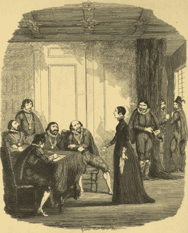 Viviana Radcliffe examined by the Earl of Salisbury, and the Privy Council in the Star Chamber. Illustration by George Cruikshank from William Harrison Ainsworth's novel Guy Fawkes.