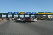 The former I-90 toll plaza in Weston, Massachusetts