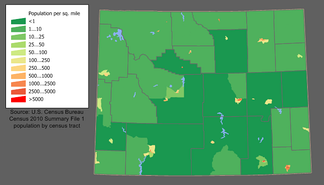 The largest population centers are Cheyenne (southeast) and Casper.