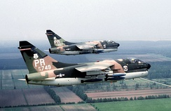"A-7D Corsair II aircraft (s/n 70-0957, 74-1749) assigned to the 198th Tactical Fighter Squadron during exercise ""Solid Shield 78"" on 1 May 1978."