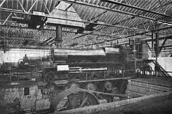 An early GWR Saint class, in the period when these were taper-boilered 4-4-2 Atlantics (1905–12), in the testing shop