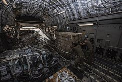 U.S. Air Force airmen unload a C-17 aircraft carrying approximately 1,800 kg (4,000 lb) of medical supplies in Niamey, Niger 23 April 2020.