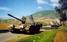 An Albanian T-59 tank during the Albania-Yugoslav border incident in May 1999.