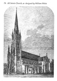 Engraving of William White's design for All Saints, complete with spire