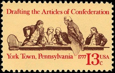 Historical 13-cent postage stamp commemorating the Articles of Confederation 200th anniversary